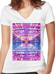 Rave Vision Synesthesia - Psychedelic Geometric Art  Women's Fitted V-Neck T-Shirt