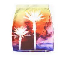 Bright Watercolor Palm Tree Sunset Mini Skirt