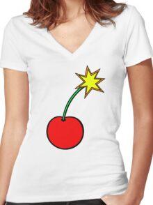 Cherry Bomb Women's Fitted V-Neck T-Shirt