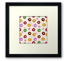 Beautiful vector seamless pattern with colorful donuts Framed Print
