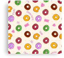 Beautiful vector seamless pattern with colorful donuts Canvas Print
