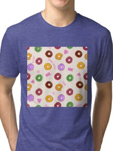 Beautiful vector seamless pattern with colorful donuts Tri-blend T-Shirt