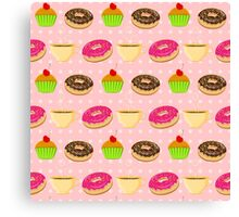 Seamless pattern with colorful donuts, muffins and teacups Canvas Print