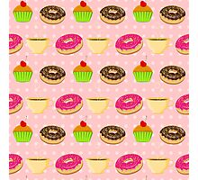 Seamless pattern with colorful donuts, muffins and teacups Photographic Print
