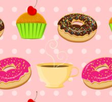 Seamless pattern with colorful donuts, muffins and teacups Sticker