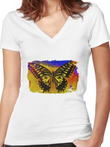 """psychedelic butterfly""  Women's Fitted V-Neck T-Shirt"