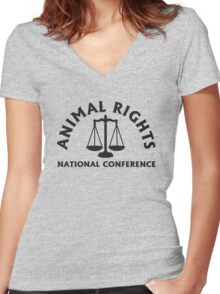 ANIMAL RIGHTS Women's Fitted V-Neck T-Shirt