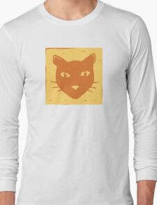 Block Print Cat Long Sleeve T-Shirt