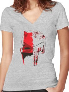 Daredevil - Punisher Women's Fitted V-Neck T-Shirt
