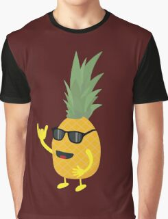 Heavy Metal Pineapple Graphic T-Shirt