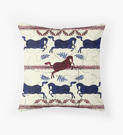 Ancient Greek Fresco - Navy & Red  Throw Pillow