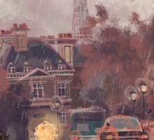 Paris in the rain Sticker