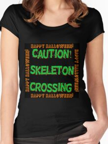 Caution Skeleton Crossing Women's Fitted Scoop T-Shirt