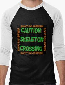 Caution Skeleton Crossing Men's Baseball ¾ T-Shirt