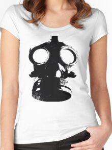 Mask-illustration-Black Women's Fitted Scoop T-Shirt