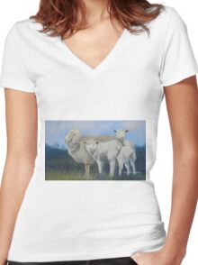 Station Sheep Women's Fitted V-Neck T-Shirt