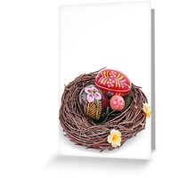 hand painted easter eggs in nest Greeting Card