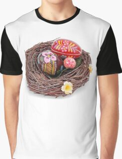 hand painted easter eggs in nest Graphic T-Shirt