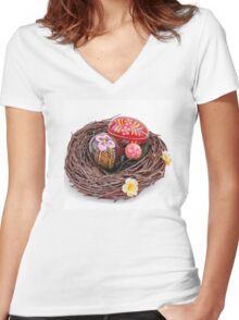 hand painted easter eggs in nest Women's Fitted V-Neck T-Shirt