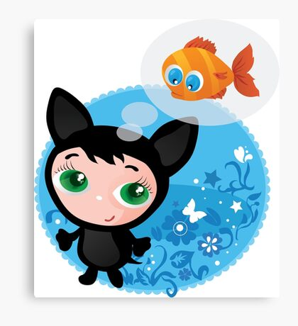 Cute funny kitten with fish vector illustration Canvas Print
