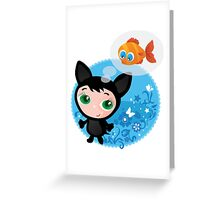 Cute funny kitten with fish vector illustration Greeting Card