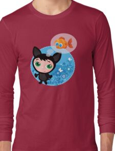 Cute funny kitten with fish vector illustration Long Sleeve T-Shirt