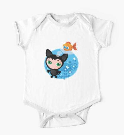 Cute funny kitten with fish vector illustration One Piece - Short Sleeve