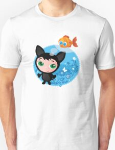 Cute funny kitten with fish vector illustration Unisex T-Shirt