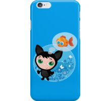 Cute funny kitten with fish vector illustration iPhone Case/Skin