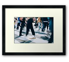 Blurred Legs of People Crossing Shibuya Crossing in Tokyo Framed Print