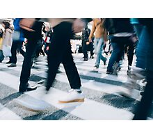 Blurred Legs of People Crossing Shibuya Crossing in Tokyo Photographic Print