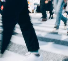 Blurred Legs of People Crossing Shibuya Crossing in Tokyo Sticker