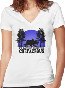 I'd Rather be in the Cretaceous Women's Fitted V-Neck T-Shirt
