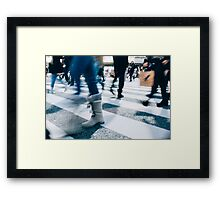 Blur of People Crossing Shibuya Crossing in Tokyo Framed Print