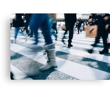 Blur of People Crossing Shibuya Crossing in Tokyo Canvas Print