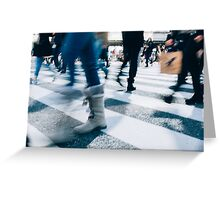 Blur of People Crossing Shibuya Crossing in Tokyo Greeting Card