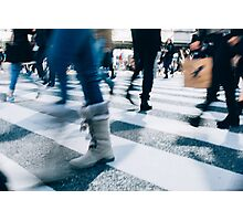Blur of People Crossing Shibuya Crossing in Tokyo Photographic Print