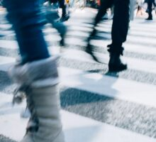 Blur of People Crossing Shibuya Crossing in Tokyo Sticker