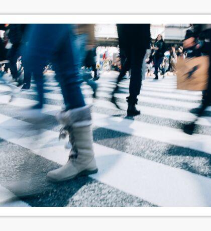 Blur of People Crossing Shibuya Crossing in Tokyo Sticker