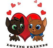 Cute kitten and kitty illustration Photographic Print