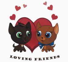 Cute kitten and kitty illustration Kids Tee