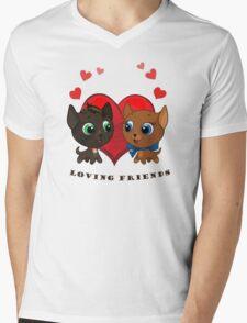Cute kitten and kitty illustration Mens V-Neck T-Shirt