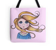Big-Eyed Girl on Windy Day, Whimsical Art, Pink Tote Bag