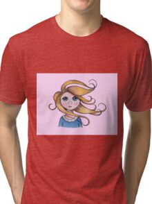 Big-Eyed Girl on Windy Day, Whimsical Art, Pink Tri-blend T-Shirt