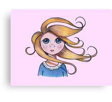 Big-Eyed Girl on Windy Day, Whimsical Art, Pink Canvas Print