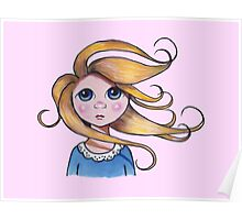Big-Eyed Girl on Windy Day, Whimsical Art, Pink Poster