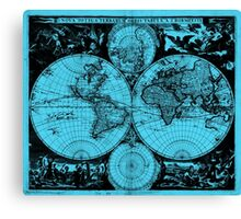 Vintage Map of The World (1685) Black & Light Blue  Canvas Print