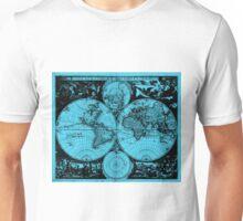 Vintage Map of The World (1685) Black & Light Blue  Unisex T-Shirt