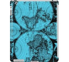 Vintage Map of The World (1685) Black & Light Blue  iPad Case/Skin