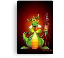 Fun Dragon Cartoon with melted Ice Cream Canvas Print